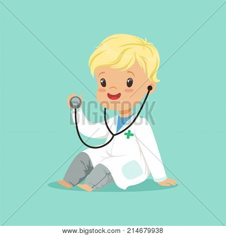 Cheerful toddler boy in white medical gown playing doctor role with stethoscope. Cute cartoon child character in flat style. Design for card, posters, kid project. Vector illustration isolated on blue