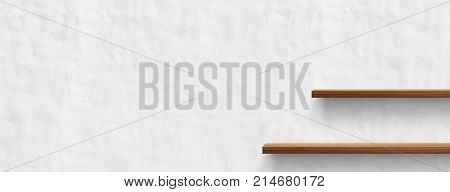 Wooden shelf isolated on white wall background. For decorated interior or montage of your product on shelf.