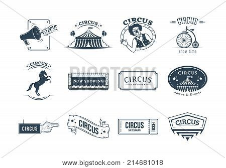 Set of circus and carnival labels, tags, stickers, posters, badges, logos, signage. Invitation to activity, loud show, presentation, opening Circus carnival show time Vector illustration isolated