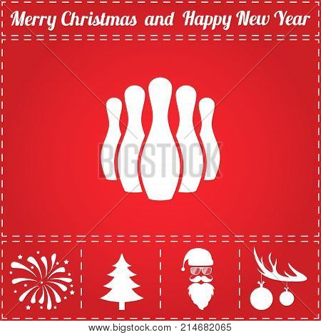 Bowling Icon Vector. And bonus symbol for New Year - Santa Claus, Christmas Tree, Firework, Balls on deer antlers