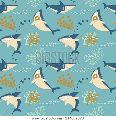 Cool sharks and seaweeds seamless pattern. Marine wildlife vector flat style wallpaper. Underwater character background.