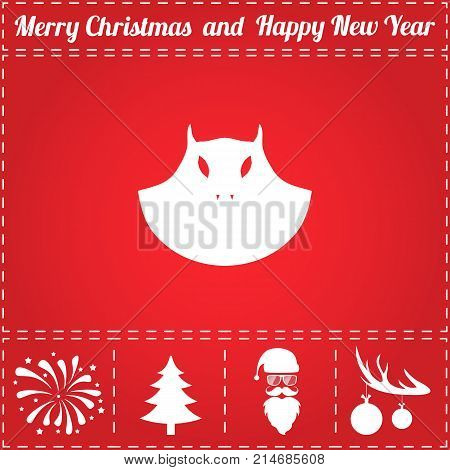 Evil Icon Vector. And bonus symbol for New Year - Santa Claus, Christmas Tree, Firework, Balls on deer antlers