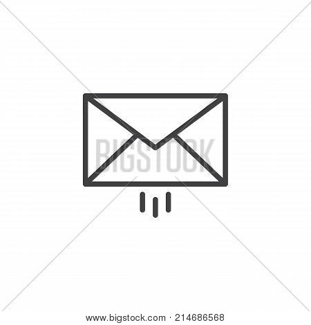 Message delivery line icon, outline vector sign, linear style pictogram isolated on white. Outgoing mail symbol, logo illustration. Editable stroke