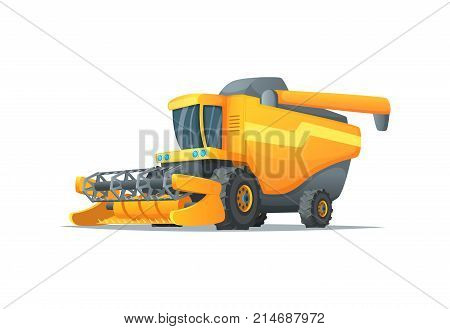Agriculture combine harvester isolated vector illustration. Rural industrial farm equipment machinery farm transport agricultural vehicle in cartoon style.