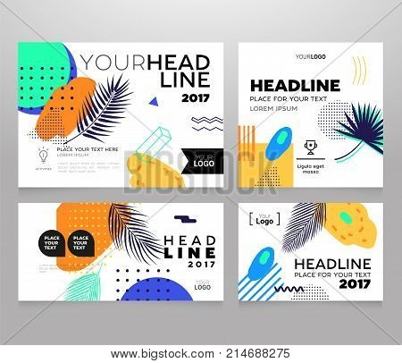 Headline banner - modern vector set of abstract images on bright tropical background, palm tree leaves, geometric shapes and brush strokes. Place for your heading, headline, information. Exotic theme