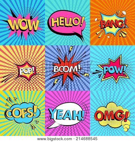 Set of comic speech bubbles with text Wow, Omg, boom, Hello, Yeah, bang, oops, pop, pow on background. Pop art style vector illustration.