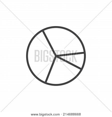 Pie chart line icon, outline vector sign, linear style pictogram isolated on white. Diagram symbol, logo illustration. Editable stroke