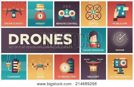 Drones - set of flat design infographics elements. Collection of square icons. Survey, weight, remote control, copter, mobile app, operator, radar, charging, working time, delivery, action camera