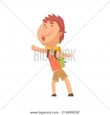 Cartoon male traveler hitchhiker, man trying to stop a car on a highway by hand, travelling by autostop vector Illustration on a white background