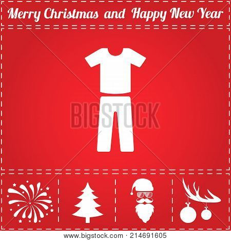 Clothes Icon Vector. And bonus symbol for New Year - Santa Claus, Christmas Tree, Firework, Balls on deer antlers
