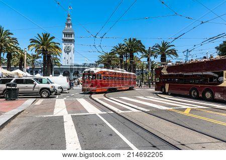 San Francisco,California,USA - June 23, 2017 : The red streetcar in Market Street