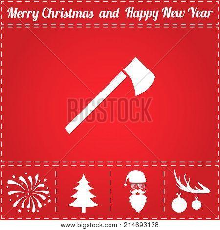 Tomahawk Icon Vector. And bonus symbol for New Year - Santa Claus, Christmas Tree, Firework, Balls on deer antlers