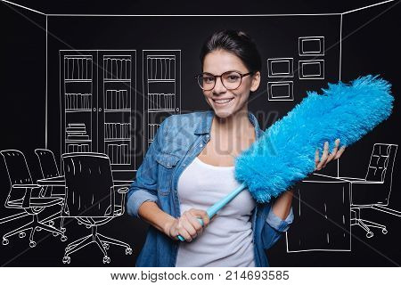 Involved in work. Positive charming woman cleanign dust and smiling while doign household chores poster
