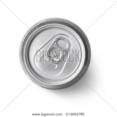 metallic can on white background view from the top with clipping path