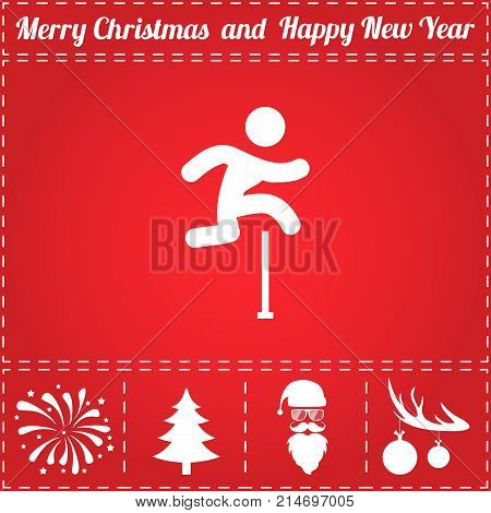 Jumping Icon Vector. And bonus symbol for New Year - Santa Claus, Christmas Tree, Firework, Balls on deer antlers