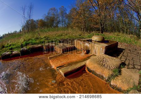 Mineral water - Caesarean spring - National nature reserve SOOS - large moorland and fen with many moffettes (muddy volcanos) - near small spa town Frantiskovy Lazne (Franzensbad) - Czech Republic
