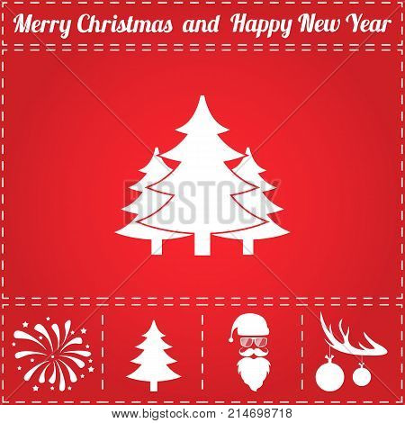 Forest Icon Vector. And bonus symbol for New Year - Santa Claus, Christmas Tree, Firework, Balls on deer antlers