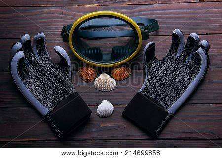 mask for diving with gloves for diving. Sea shell on the wooden background. top view.Symbol of dving club.concept