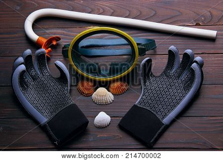 Tube, mask, gloves for diving with sea shell on the wooden background. top view.Symbol of diving club.Concept
