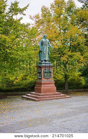 Statue of monastery Tepla abbot Reitenberger - one of spa founders - resort Marianske Lazne (Marienbad) - Czech Republic