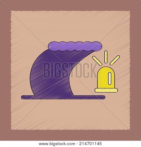 flat shading style icon of tornado alarm lamp
