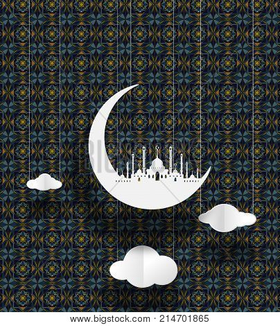 Masjid and moon geometry background of Islamic design vector paper art. paper cut cute illustration