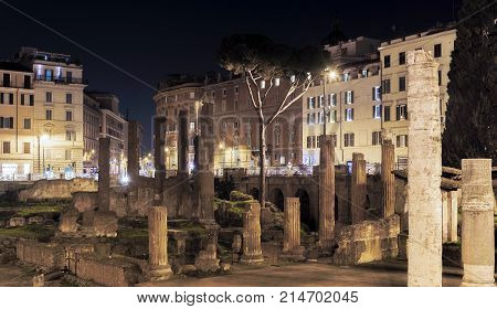 Archaeological Area Of Largo Argentina In Rome