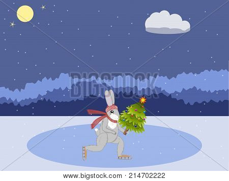 Christmas card. Hare with a Christmas tree skating on a forest rink against a background of a night forest. Vector illustration