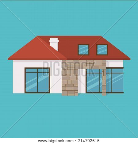 Suburban house, family vacation house, mansion. Facade apartment house. Cozy house, for joint time, family rest, holidays, summer season, gardening and housekeeping Vector illustration