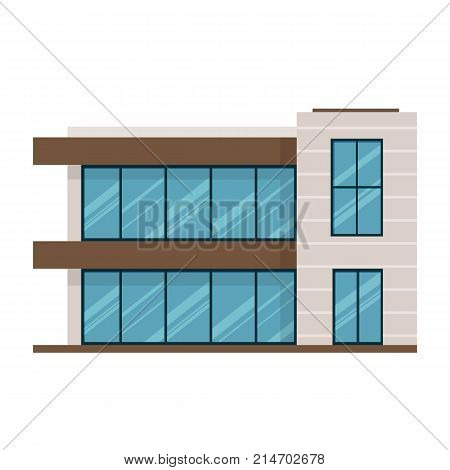 Suburban house, family vacation house, mansion, gym, fitness room, swimming pool. Facade apartment house. Modern two-storey mansion in expensive style, country house for rest. Vector illustration.