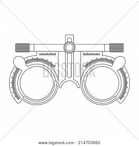 Eye optometry trial lens frame for eye vision test on white background line cartoon illustration of medical accessory for correct vision. Vector