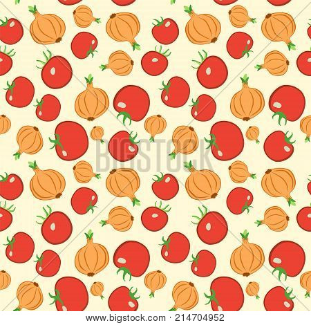 Seamless Colorful Vegetable Pattern. Vector Background With Tomato And Onion. Patterned Paper For Sc