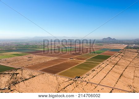 Agriculture viewed from above looking from the northeast to the southwest towards Phoenix and Tempe Arizona