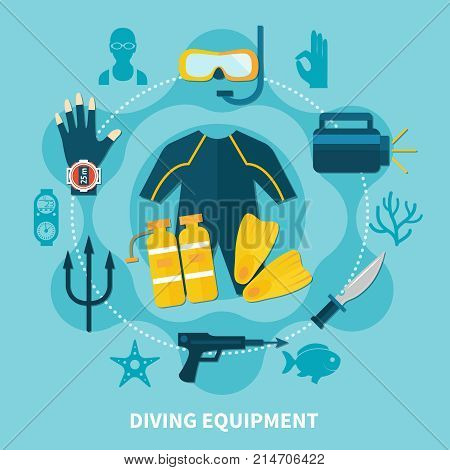 Diving equipment round composition with wetsuit, scuba gear, fins, watch and gun  on blue background vector illustration