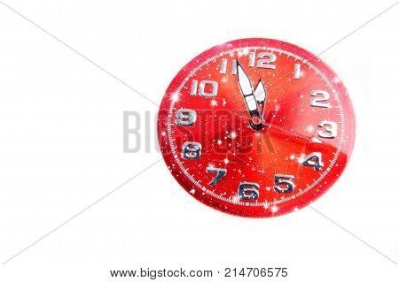 New Year celebration with red dial clock