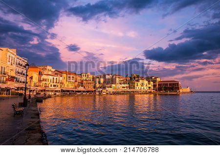 CHANIA, CRETE ISLAND, GREECE - JUNE 26, 2016: View of the old venetian port of Chania on Crete island Greece.
