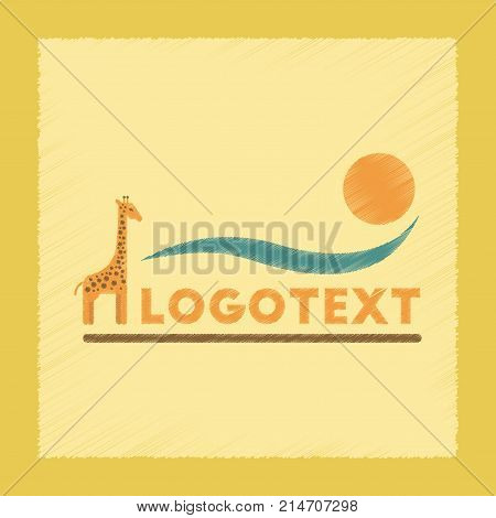 flat shading style icon of giraffe logo