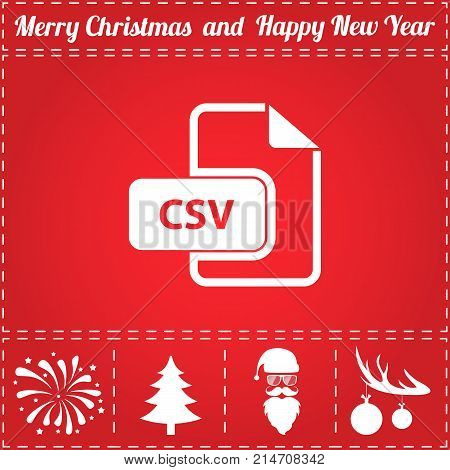 CSV Icon Vector. And bonus symbol for New Year - Santa Claus, Christmas Tree, Firework, Balls on deer antlers