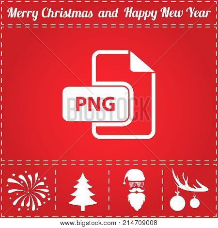 PNG Icon Vector. And bonus symbol for New Year - Santa Claus, Christmas Tree, Firework, Balls on deer antlers