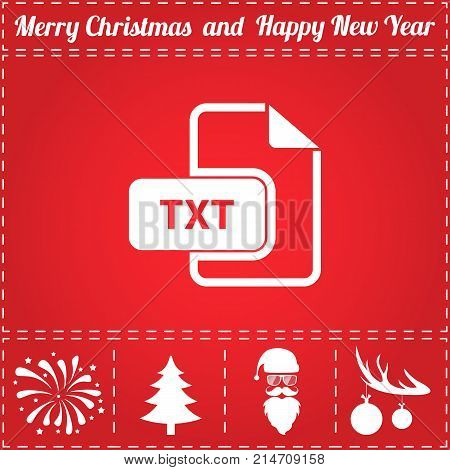TXT Icon Vector. And bonus symbol for New Year - Santa Claus, Christmas Tree, Firework, Balls on deer antlers