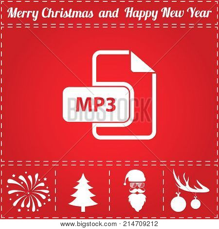 MP3 Icon Vector. And bonus symbol for New Year - Santa Claus, Christmas Tree, Firework, Balls on deer antlers