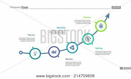 Arrow chart with five elements. Process diagram, graph, layout. Creative concept for infographics, presentation, project, report. Can be used for topics like business, analysis, startup