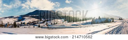 Forested Valley Of Pylypets Village In Carpathians