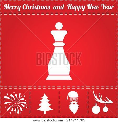 Chess Icon Vector. And bonus symbol for New Year - Santa Claus, Christmas Tree, Firework, Balls on deer antlers