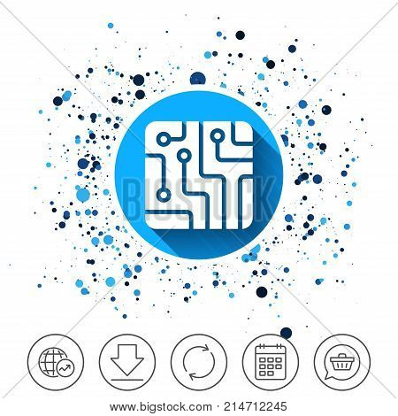 Button on circles background. Circuit board sign icon. Technology scheme square symbol. Calendar line icon. And more line signs. Random circles. Editable stroke. Vector
