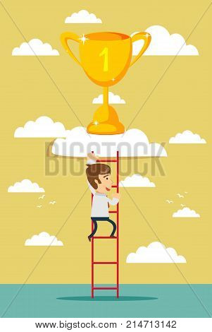 business man climb to trophy over clouds. Stock flat vector illustration.