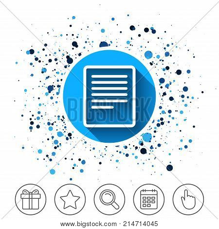 Button on circles background. Text file sign icon. File document symbol. Calendar line icon. And more line signs. Random circles. Editable stroke. Vector