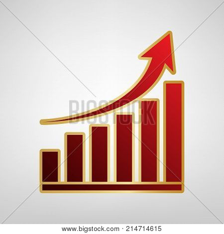 Growing graph sign. Vector. Red icon on gold sticker at light gray background.