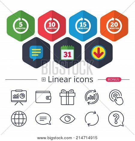 Calendar, Speech bubble and Download signs. Every 5, 10, 15 and 20 minutes icons. Full rotation arrow symbols. Iterative process signs. Chat, Report graph line icons. More linear signs. Vector