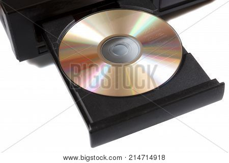 retro cd player with cd on a tray